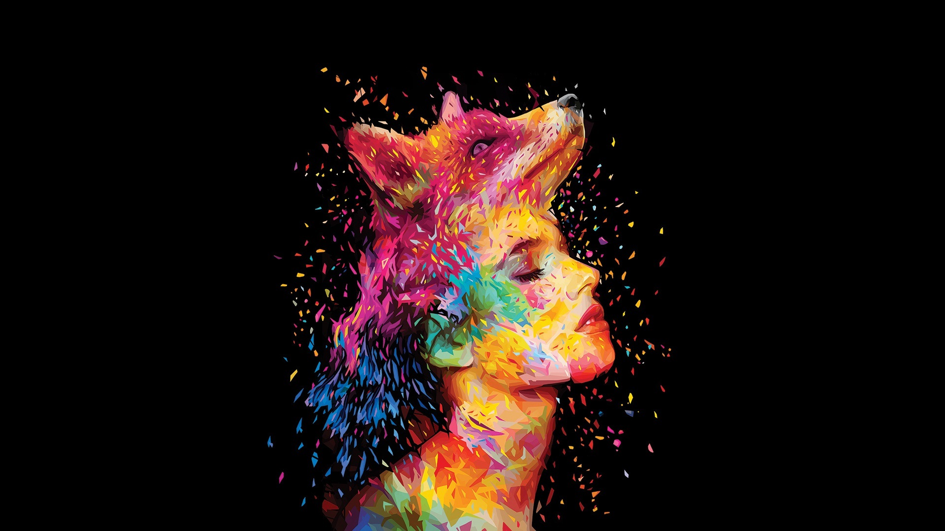 Wallpaper Abstract Design Fox Girl Face Painting