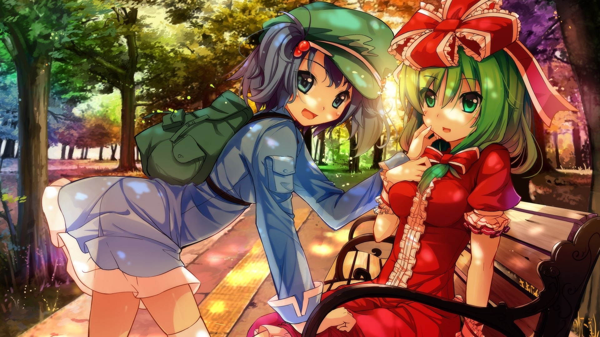 壁紙 公園のアニメの女の子 ベンチ 木 日差し 1920x1080 Full Hd 2k