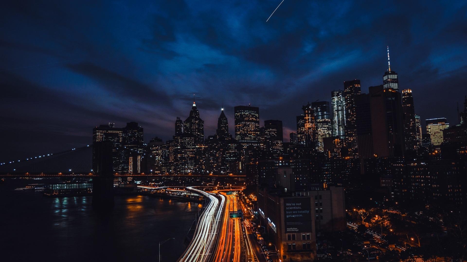 Brooklyn Brücke Wolkenkratzer New York Stadt Nacht