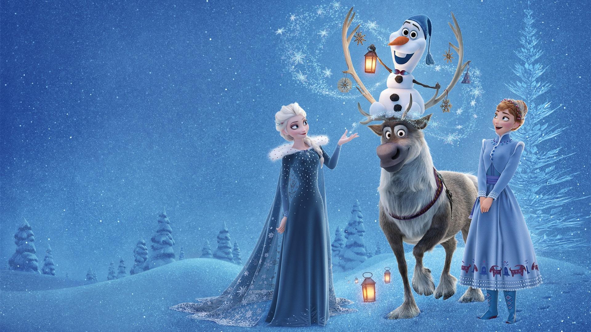 wallpaper frozen, elsa, anna, deer, snowman, disney cartoon movie