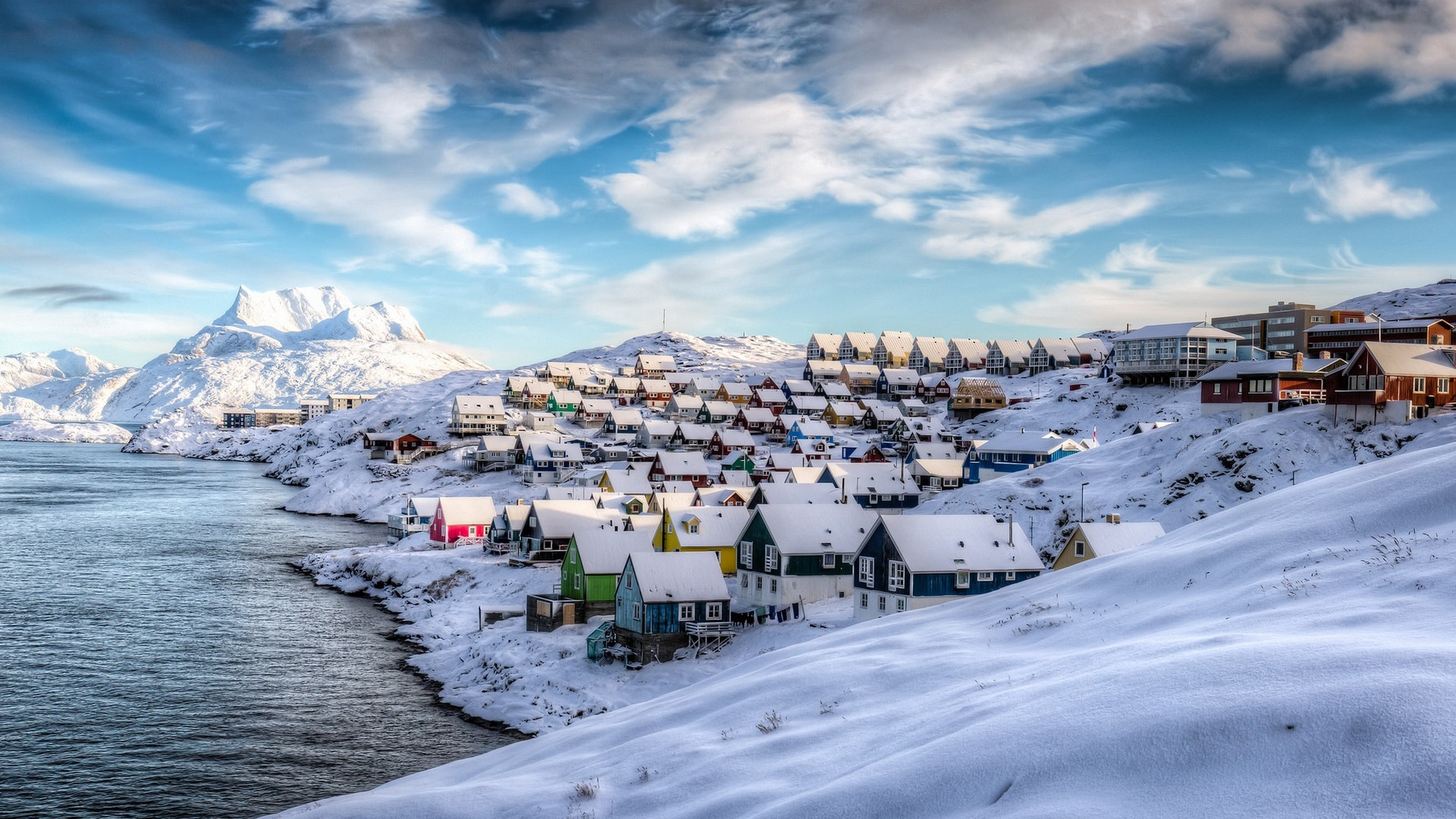 Wallpaper Greenland Nuuk Denmark Winter Houses Snow Beautiful