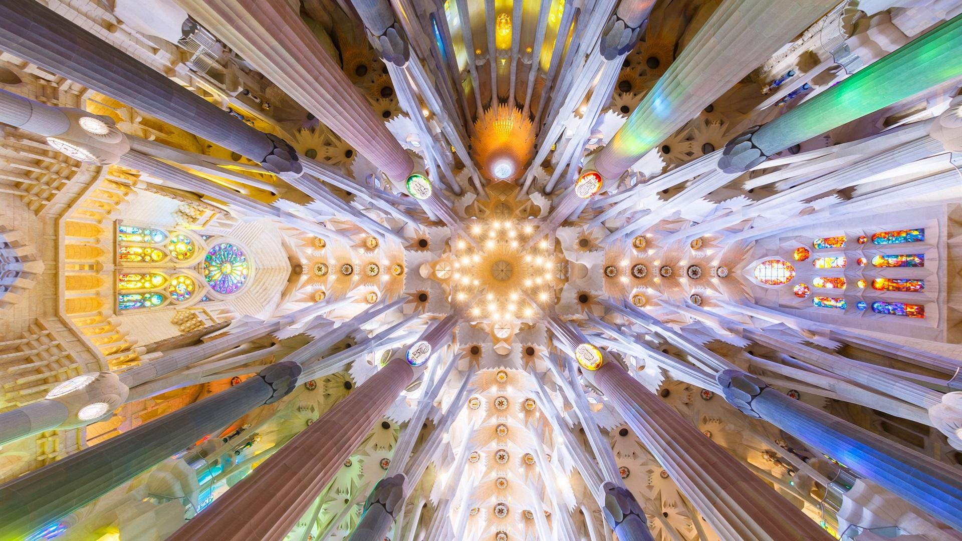 壁紙 スペイン バルセロナ サグラダファミリア 下から見る 19x10 Hd 無料のデスクトップの背景 画像