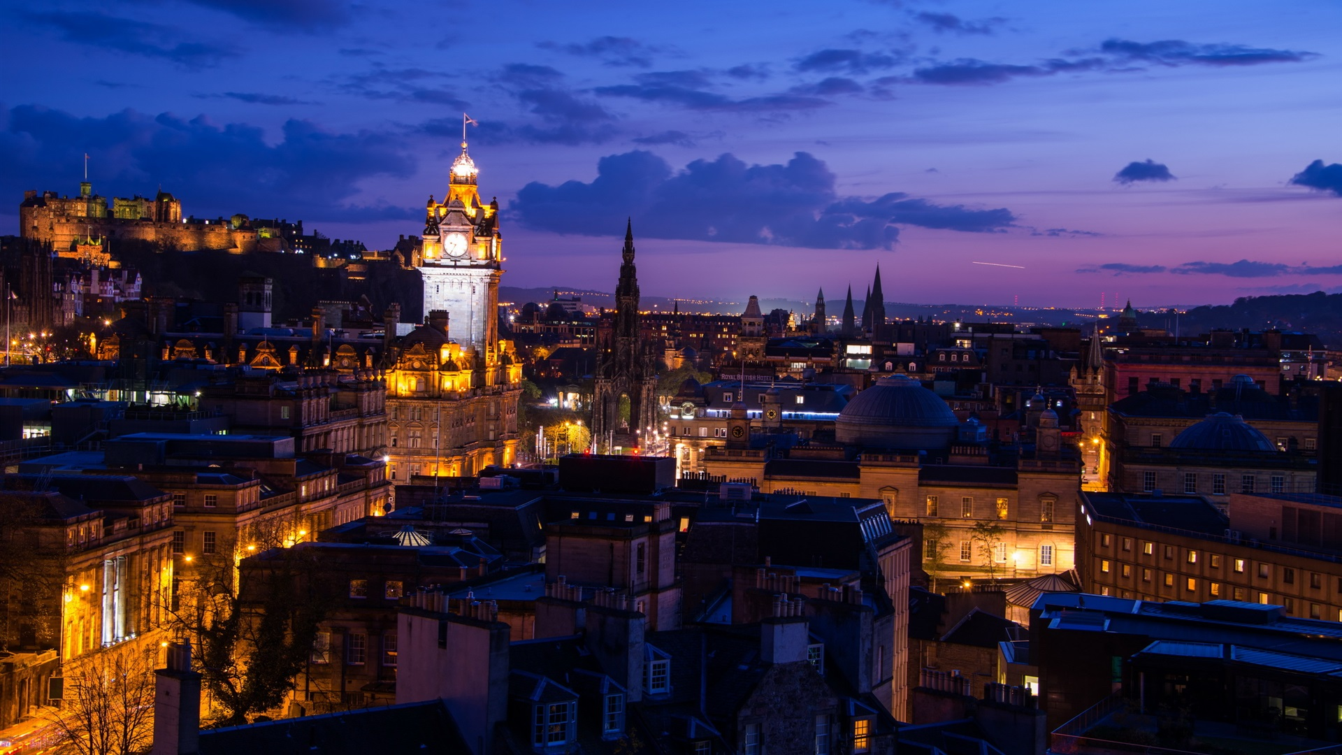Обои Облака, эдинбург, Шотландия, свет, дома. Города foto 18