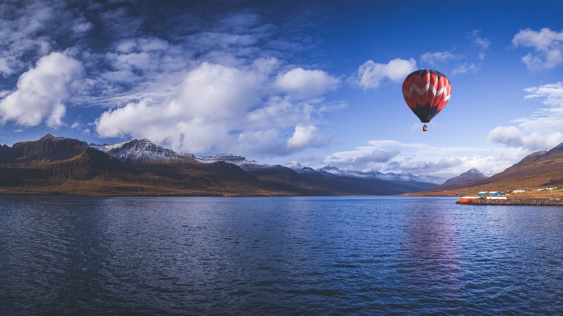 Hot Air Balloon, Sky, Mountains, Fjord, Sea, Iceland