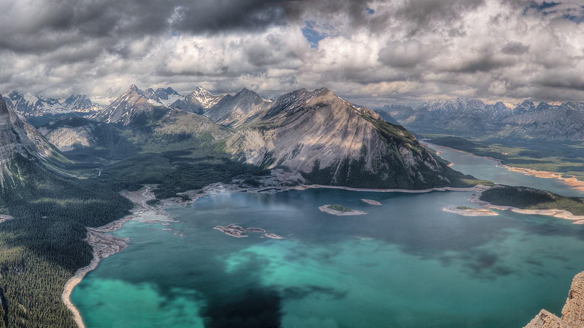 природа горы облака озеро небо облака бесплатно