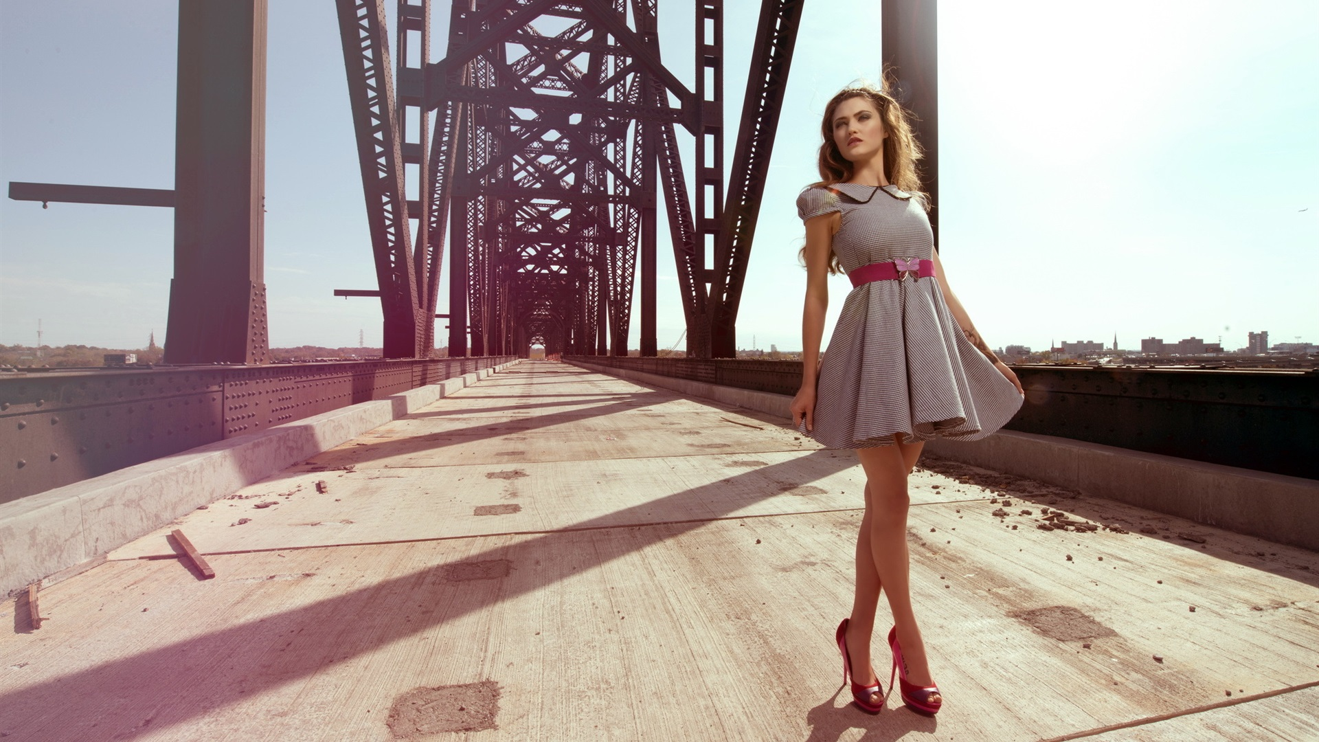 Wallpaper Summer Short Skirt Girl Bridge 1920x1200 Hd