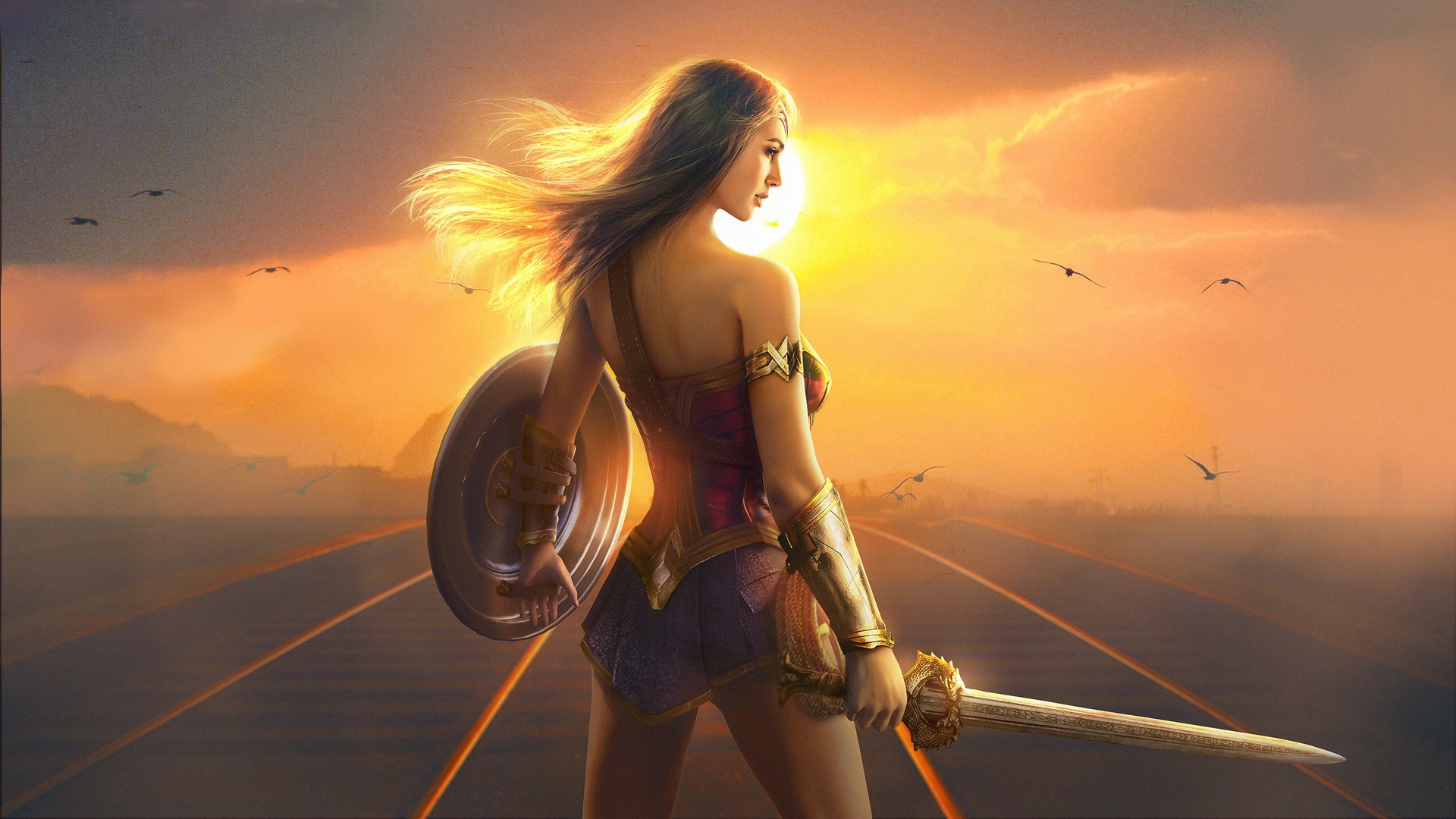 Wallpaper Wonder Woman Gal Gadot Girl Back View 1920x1080 Full