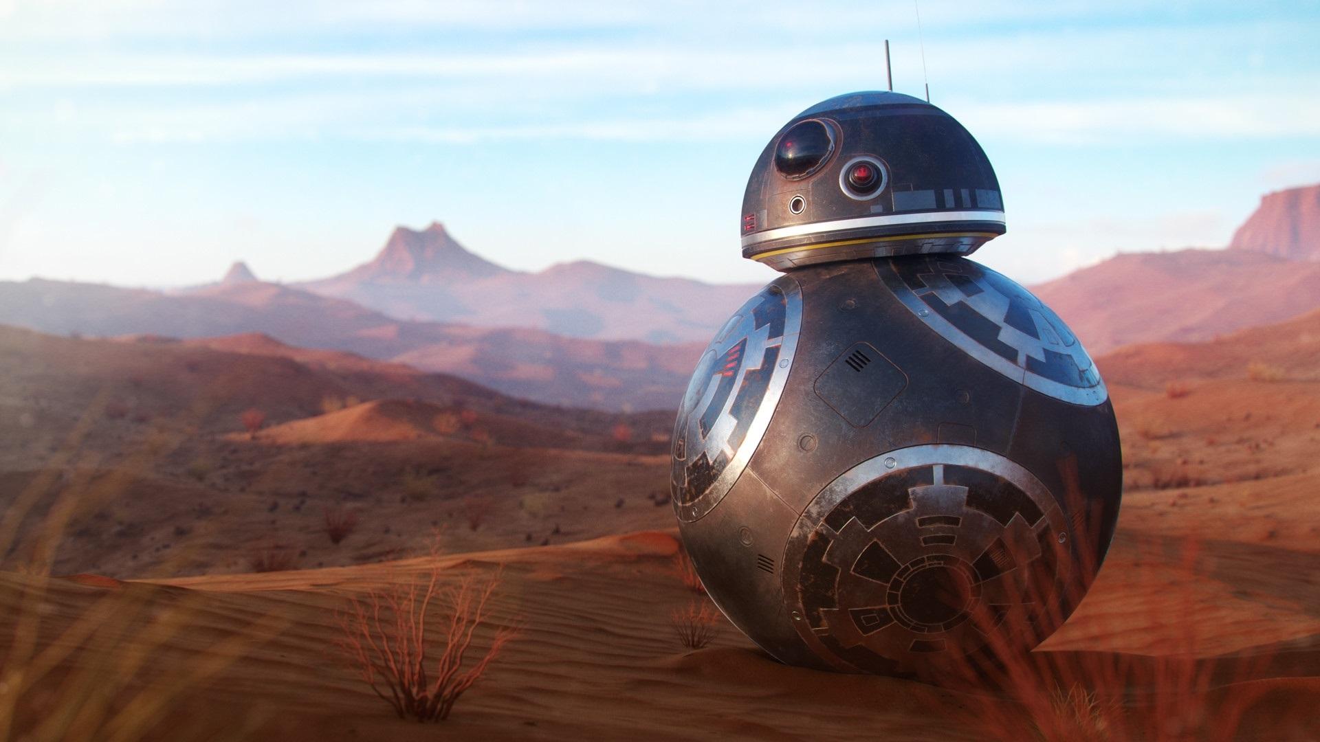 Fonds d'écran Robot BB8 au désert 1920x1080 Full HD 2K image