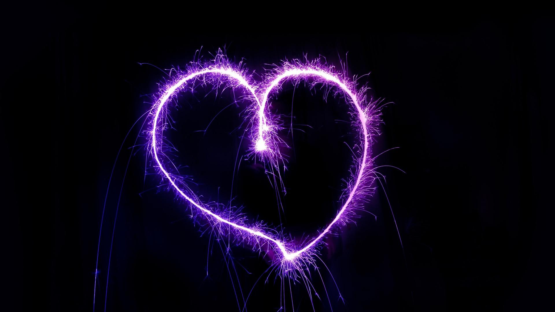 Purple Love Wallpaper: Download Wallpaper 1920x1080 Purple Love Heart, Fireworks