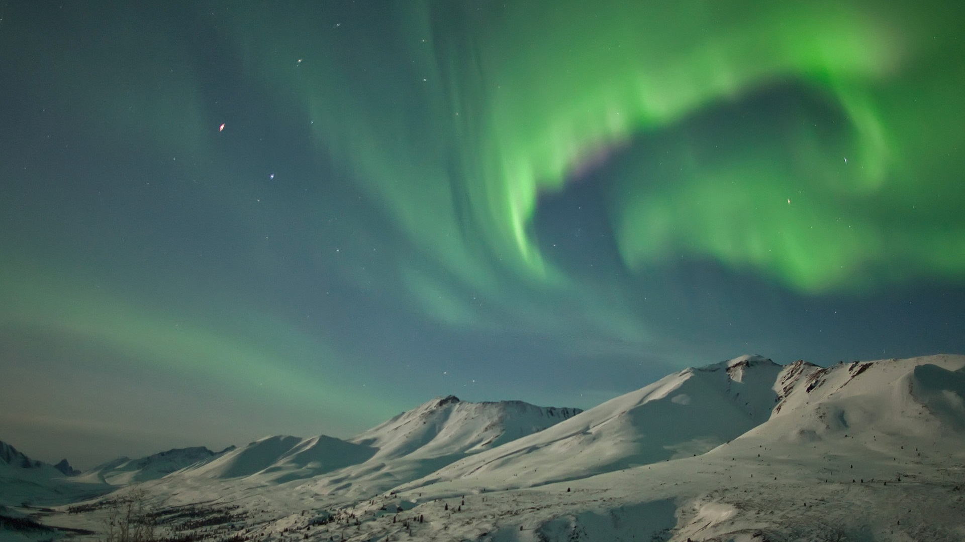 Fonds Décran Usa Alaska Aurores Boréales Neige