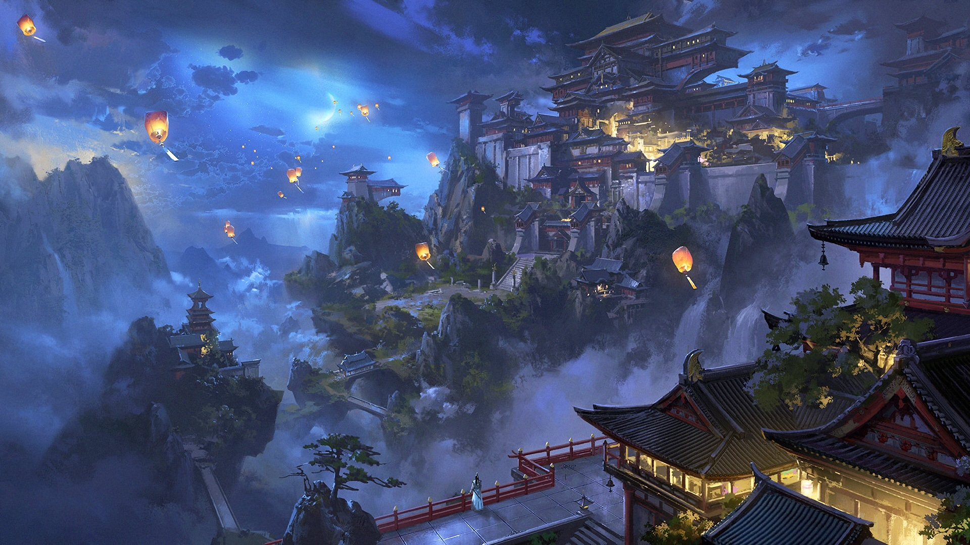 Wallpaper Chinese Landscape City Mountains Trees Lanterns Retro