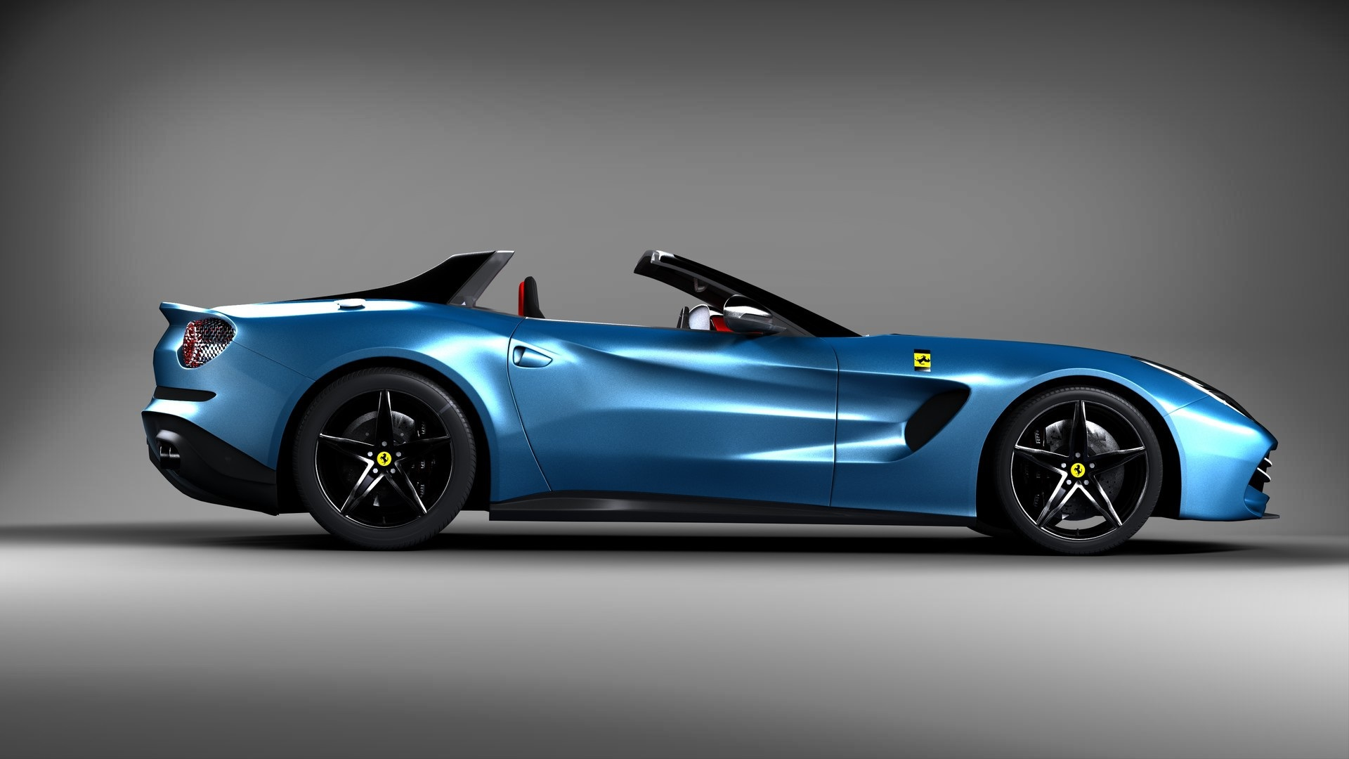Wallpaper Ferrari Blue Car Side View Sports Car 1920x1080