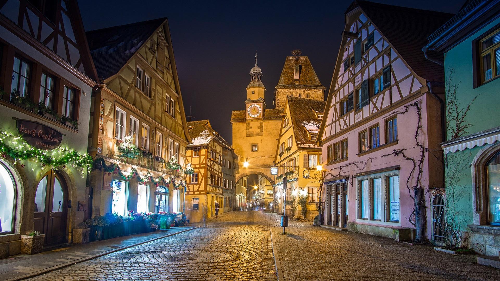 Обои улица, ночь, дома, фонари, германия, дороги. Города foto 14