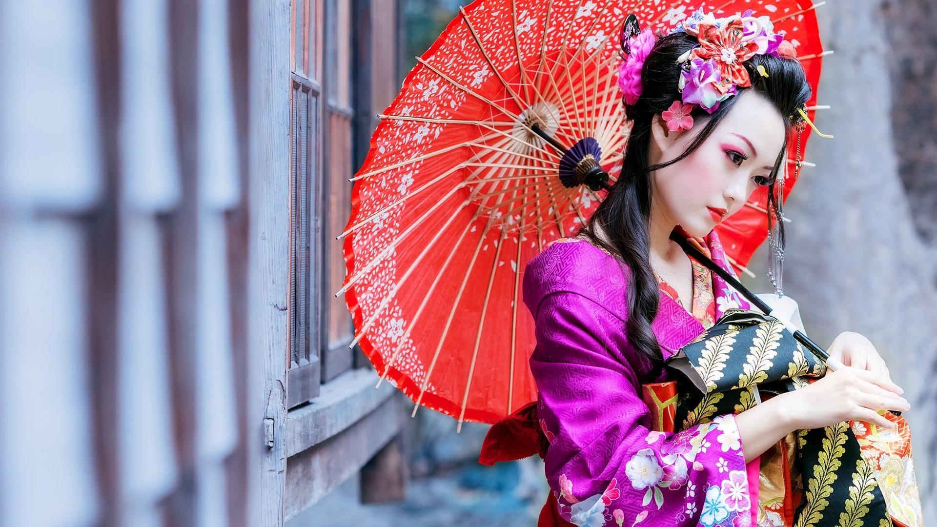 Wallpaper Japanese Girl Red Umbrella Kimono 1920x1200 Hd Picture
