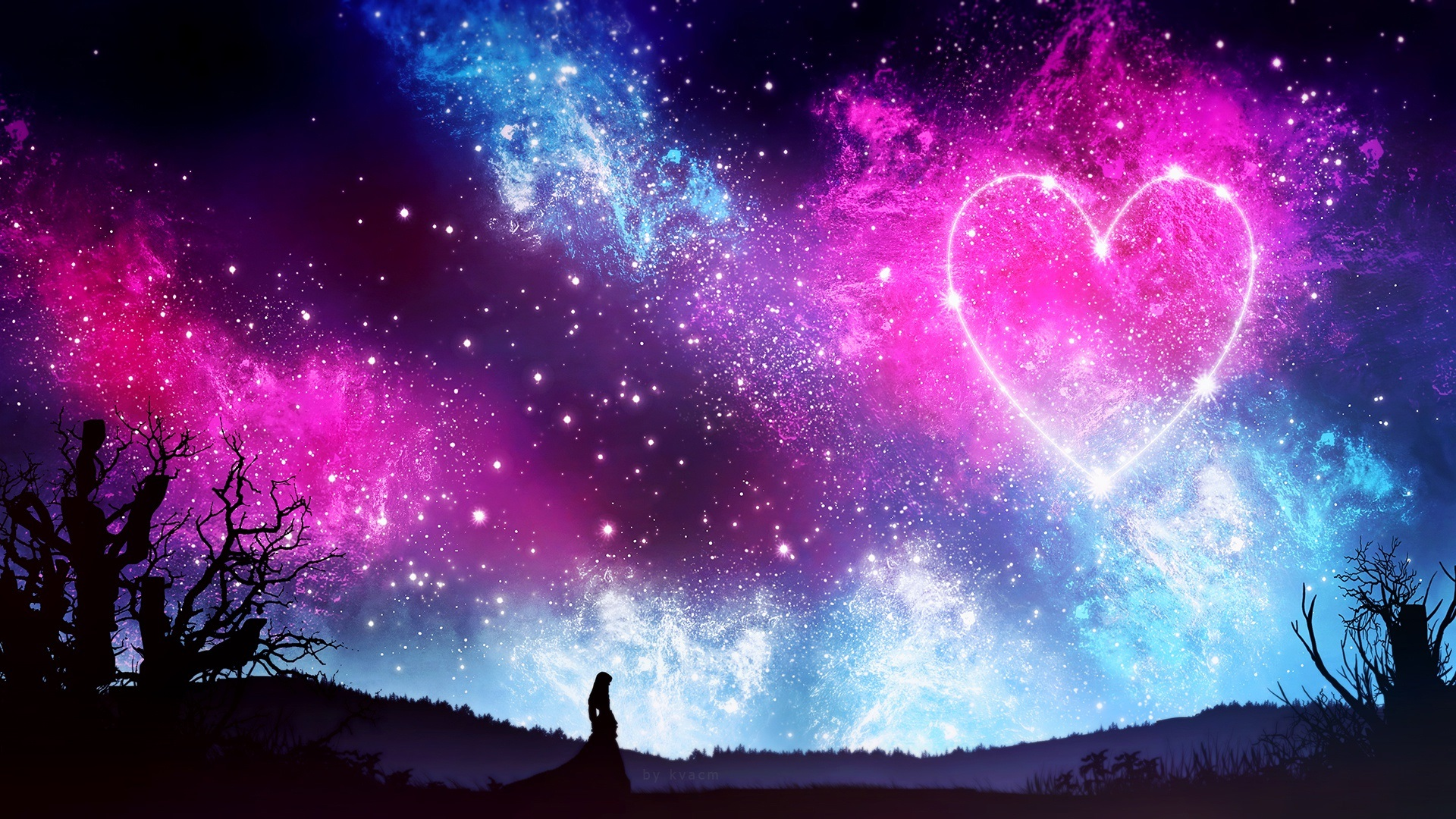 Wallpaper Love Heart Sky Starry Night Girl Silhouette