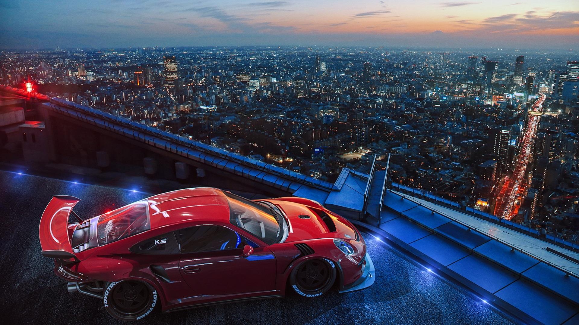 Fonds D 233 Cran Porsche Sport Voiture Toit Ville 1920x1080