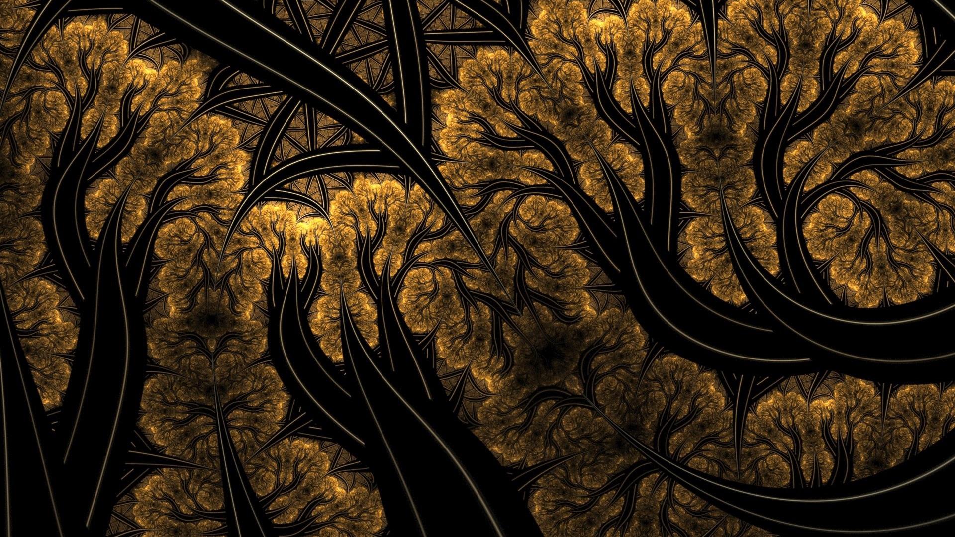 1920x1080 Abstracto Full Hd 1920x1080: Cuadro Abstracto, árboles, Líneas Fondos De Pantalla