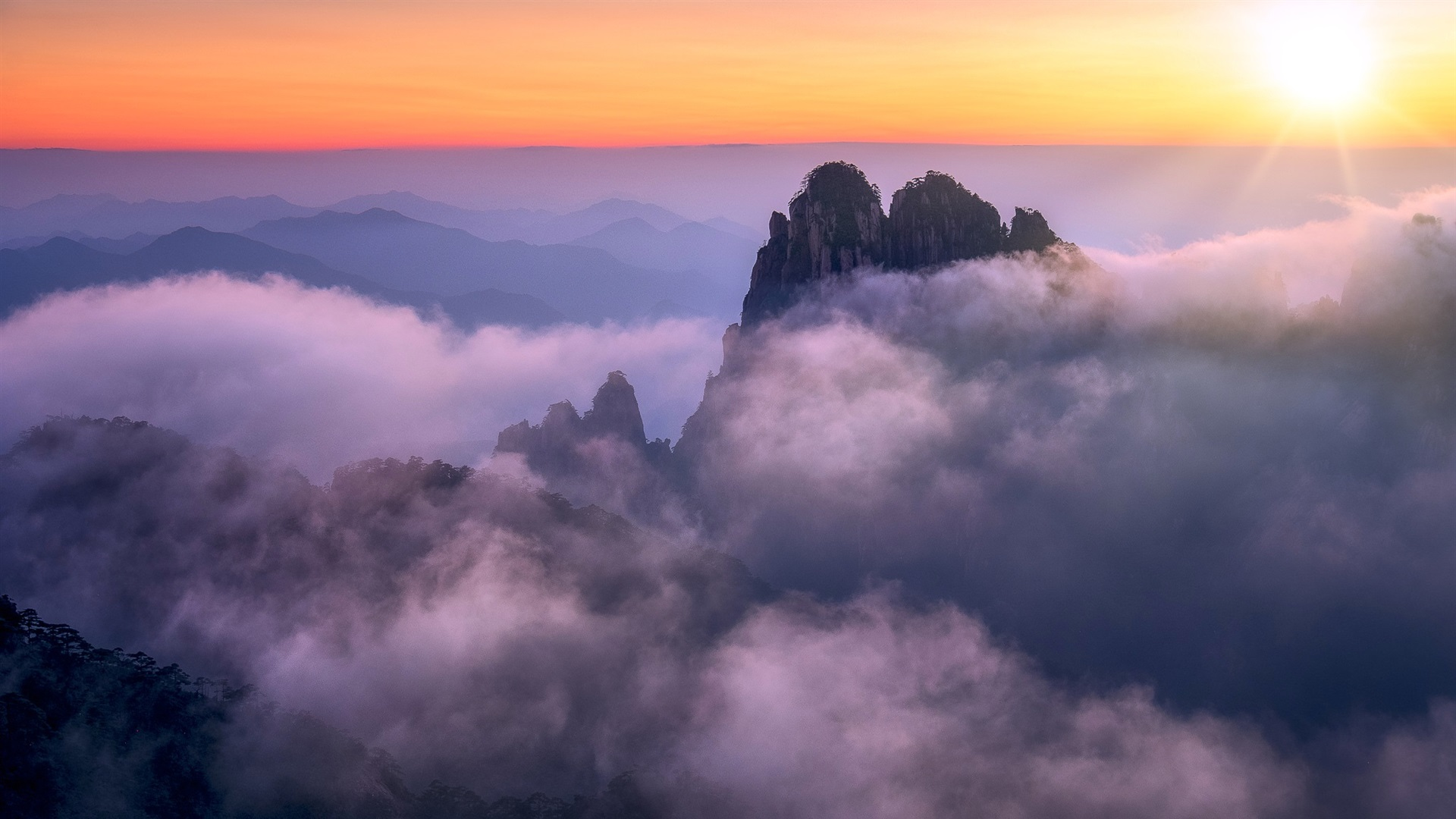 wallpaper anhui, huangshan, china, mountains, fog, morning, sunrise