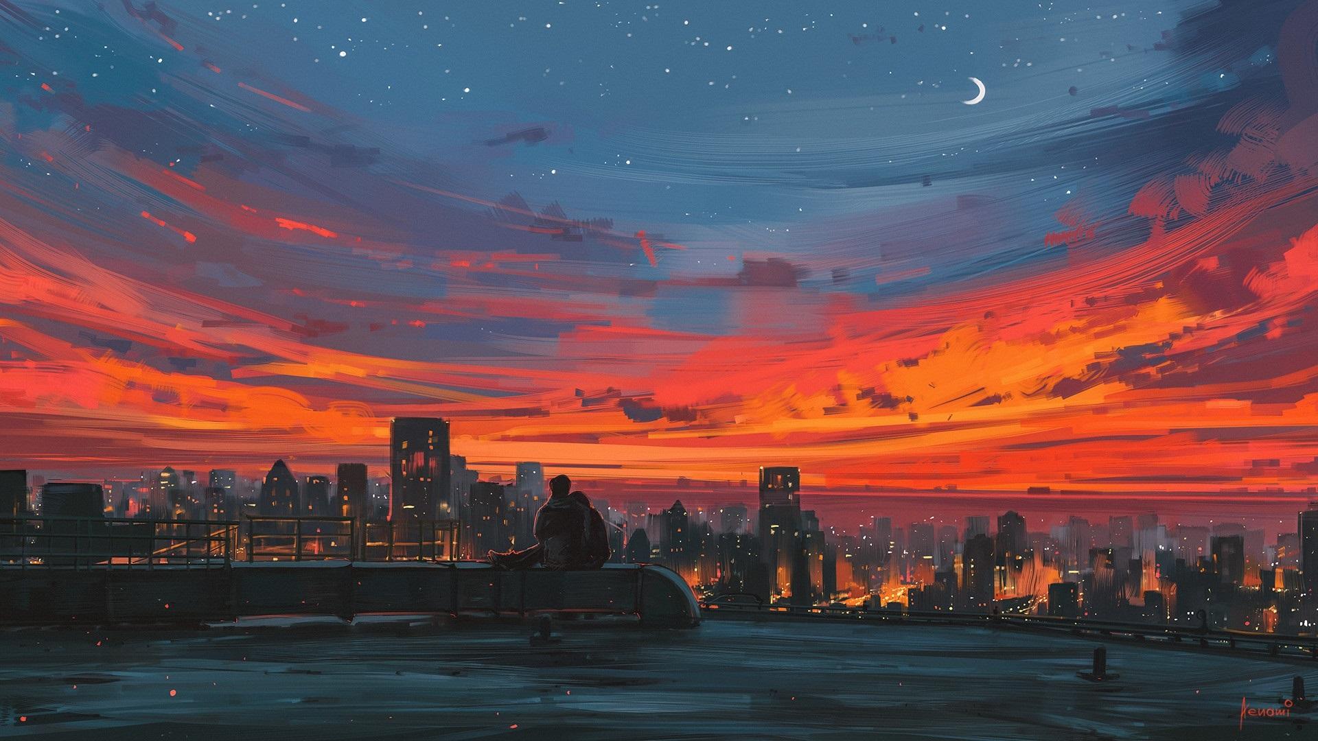壁紙 都市の夜 屋根 恋人 芸術の絵画 1920x1080 Full Hd 2k 無料の
