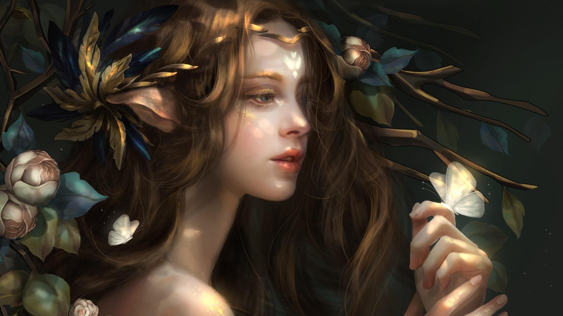 Wallpaper Fantasy Girl Flowers Butterfly 1920x1200 Hd