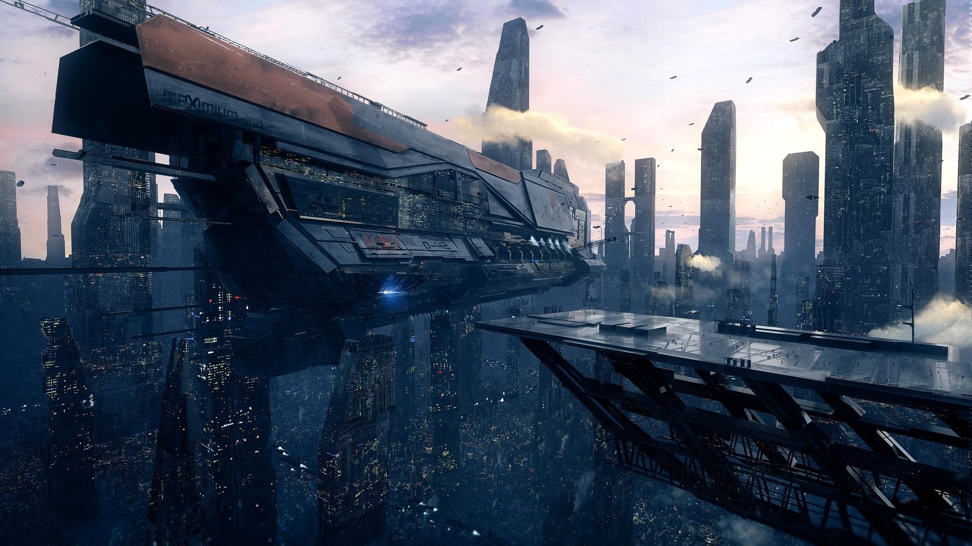 壁纸未来城市 星舰 未来派艺术1920x1080 Full Hd 2k 高清壁纸 图片