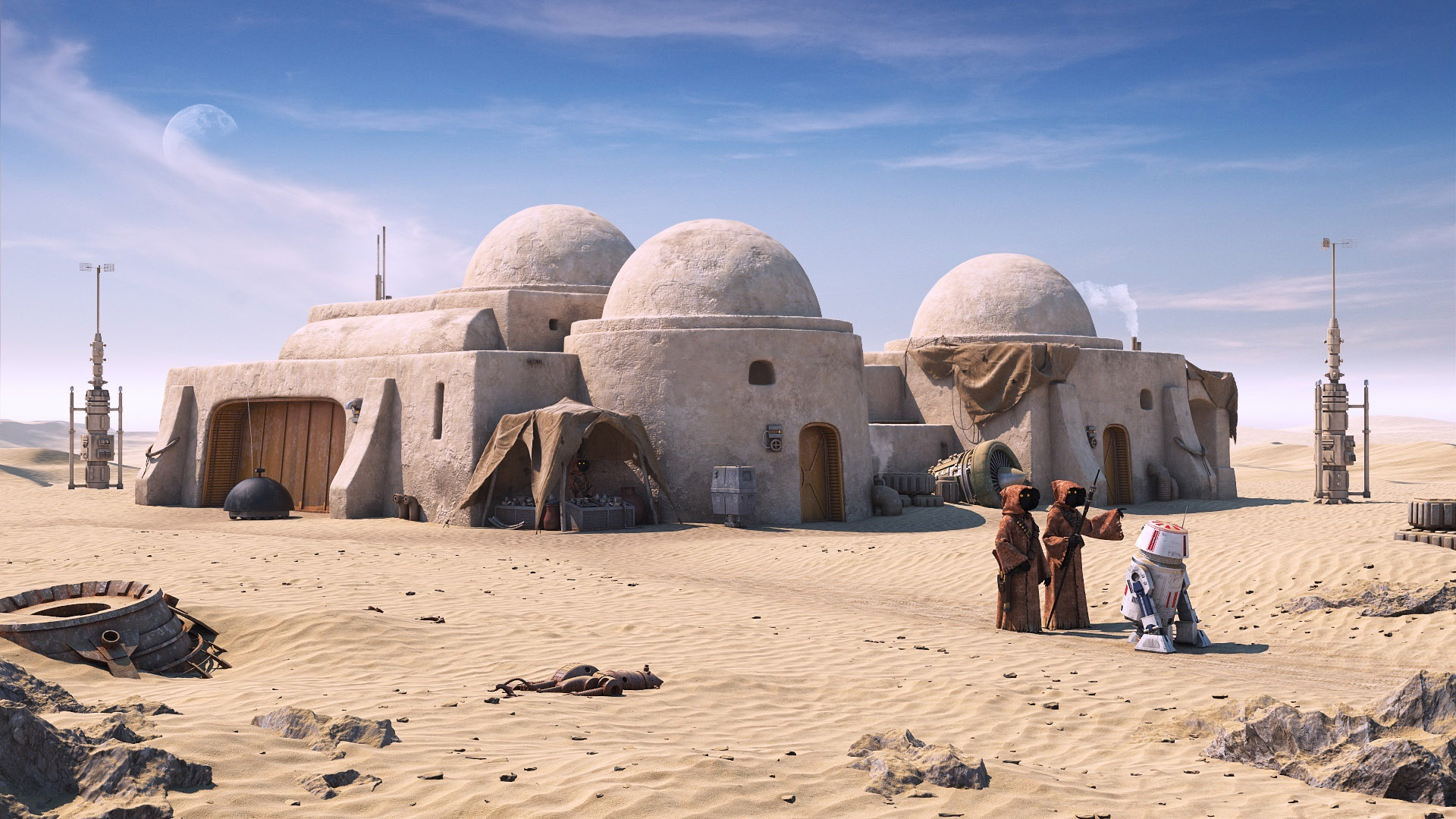 Star Wars Tatooine Roboter Wüste 1920x1080 Full Hd 2k