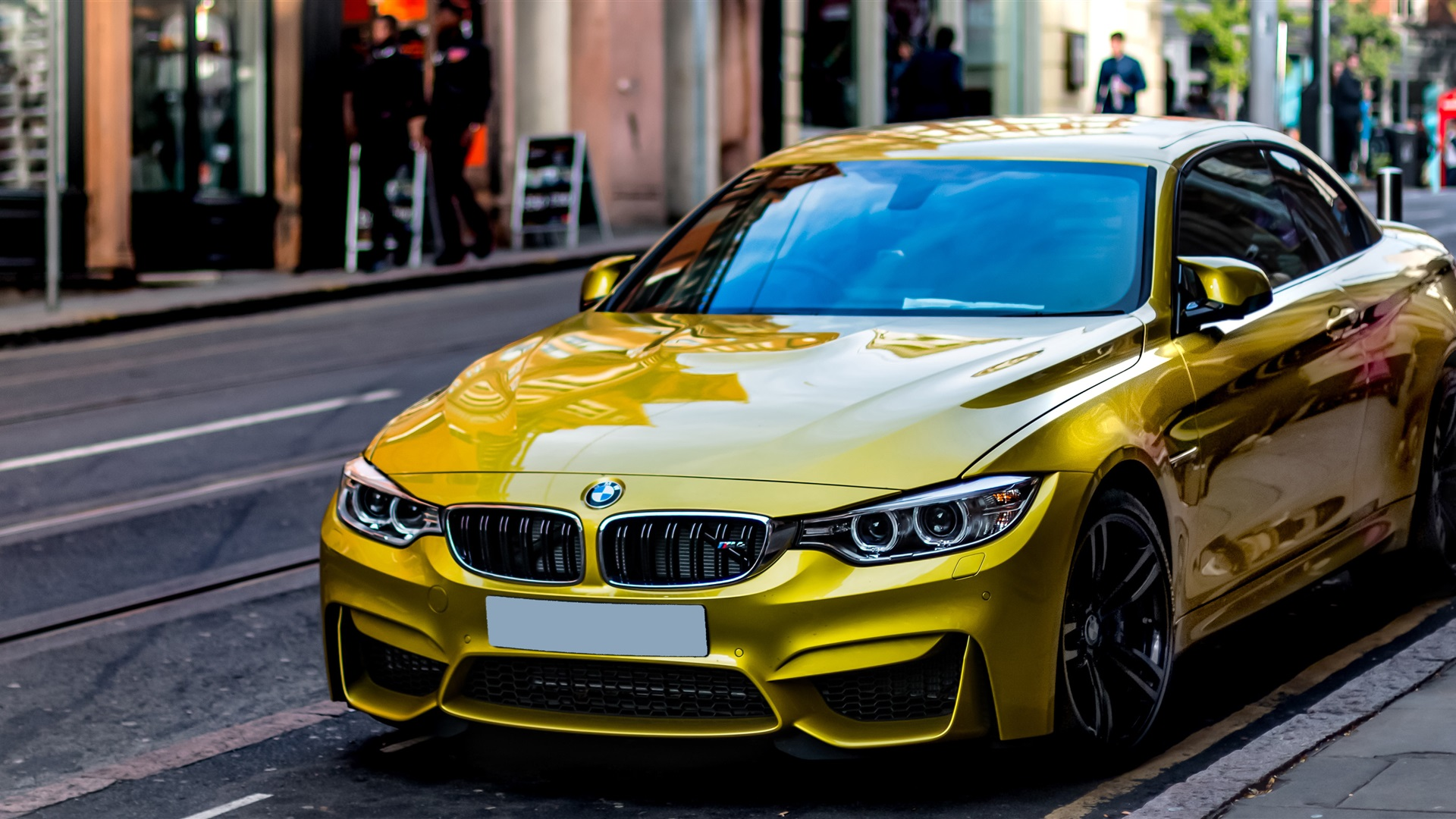 Download Wallpaper 1920x1080 Yellow BMW car stopped at ...
