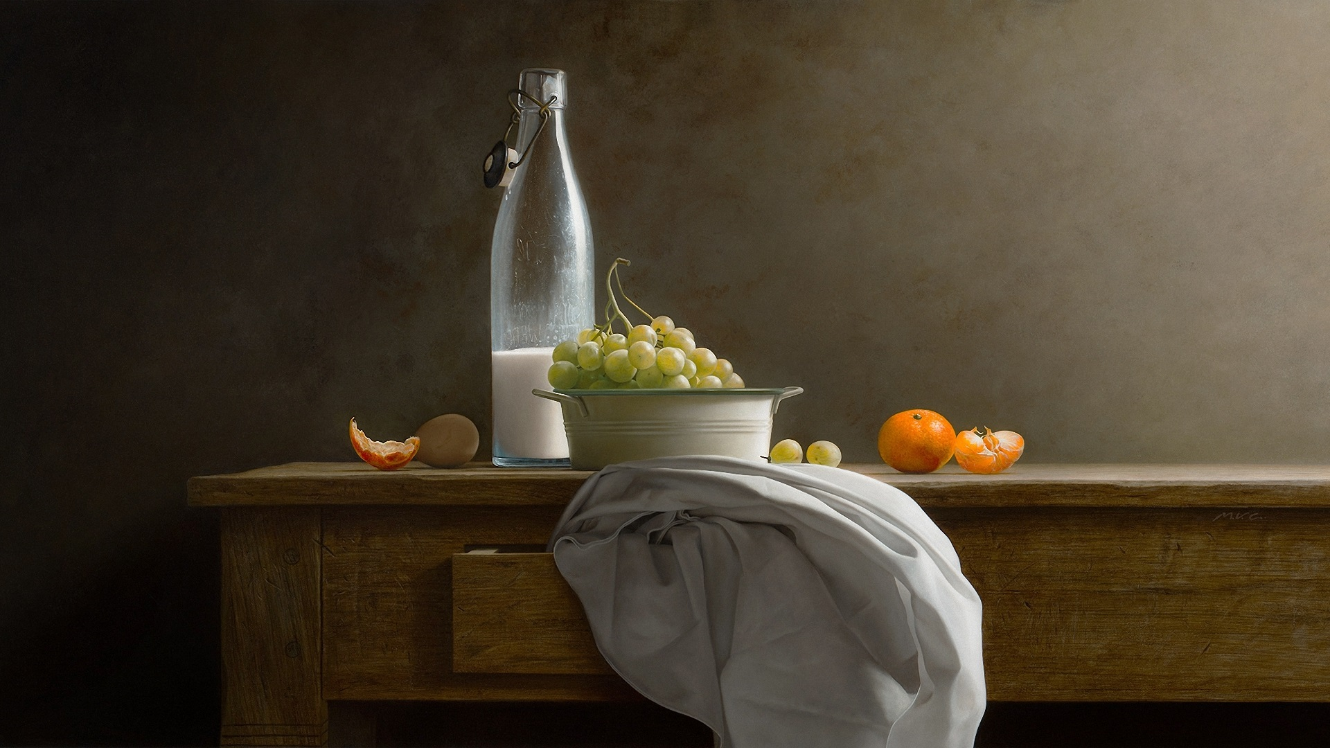 Wallpaper Grapes Milk Oranges Table 1920x1080 Full Hd 2k