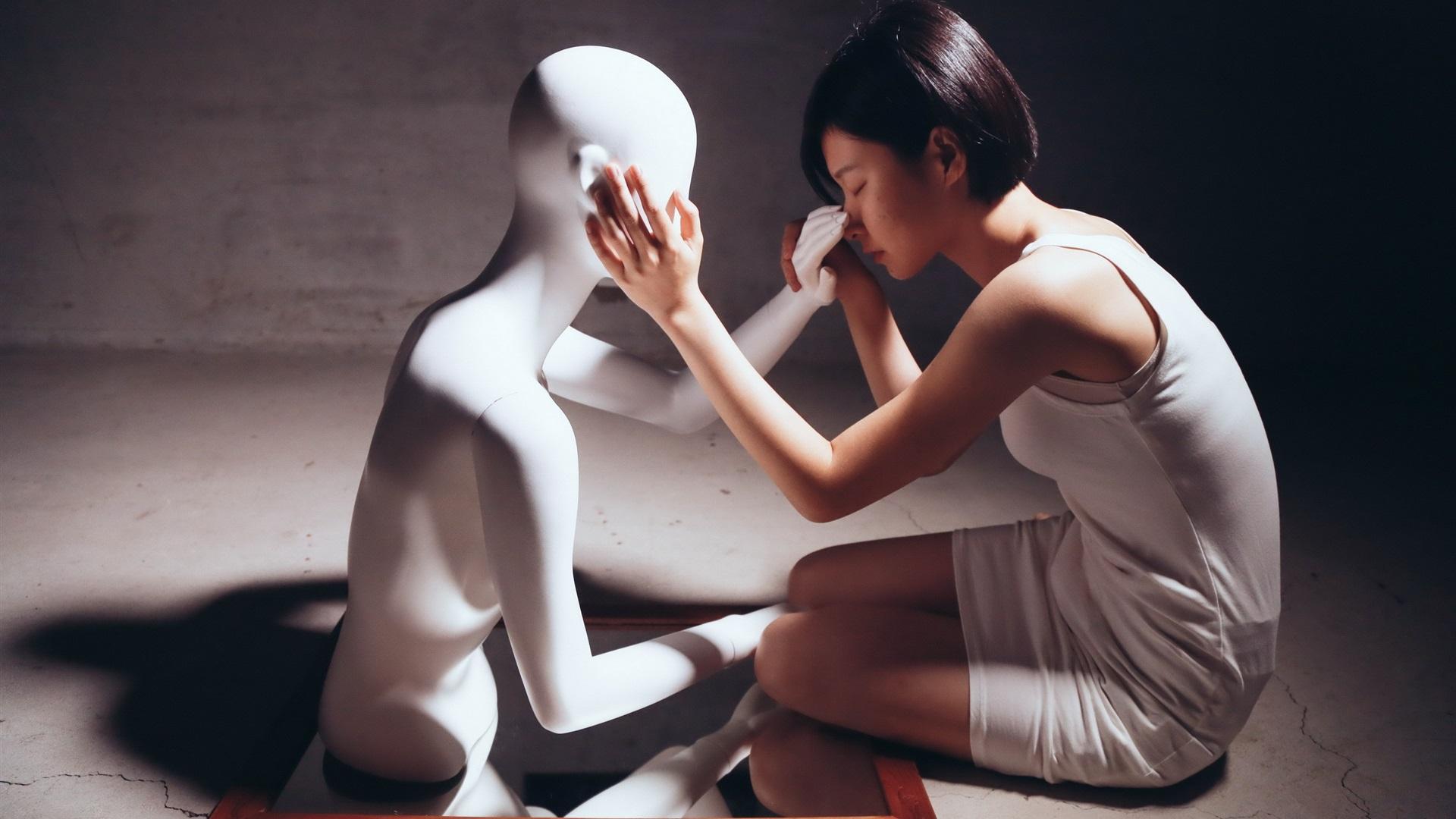 Wallpaper Short Hair Asian Girl And Model Mood 2560x1600 Hd