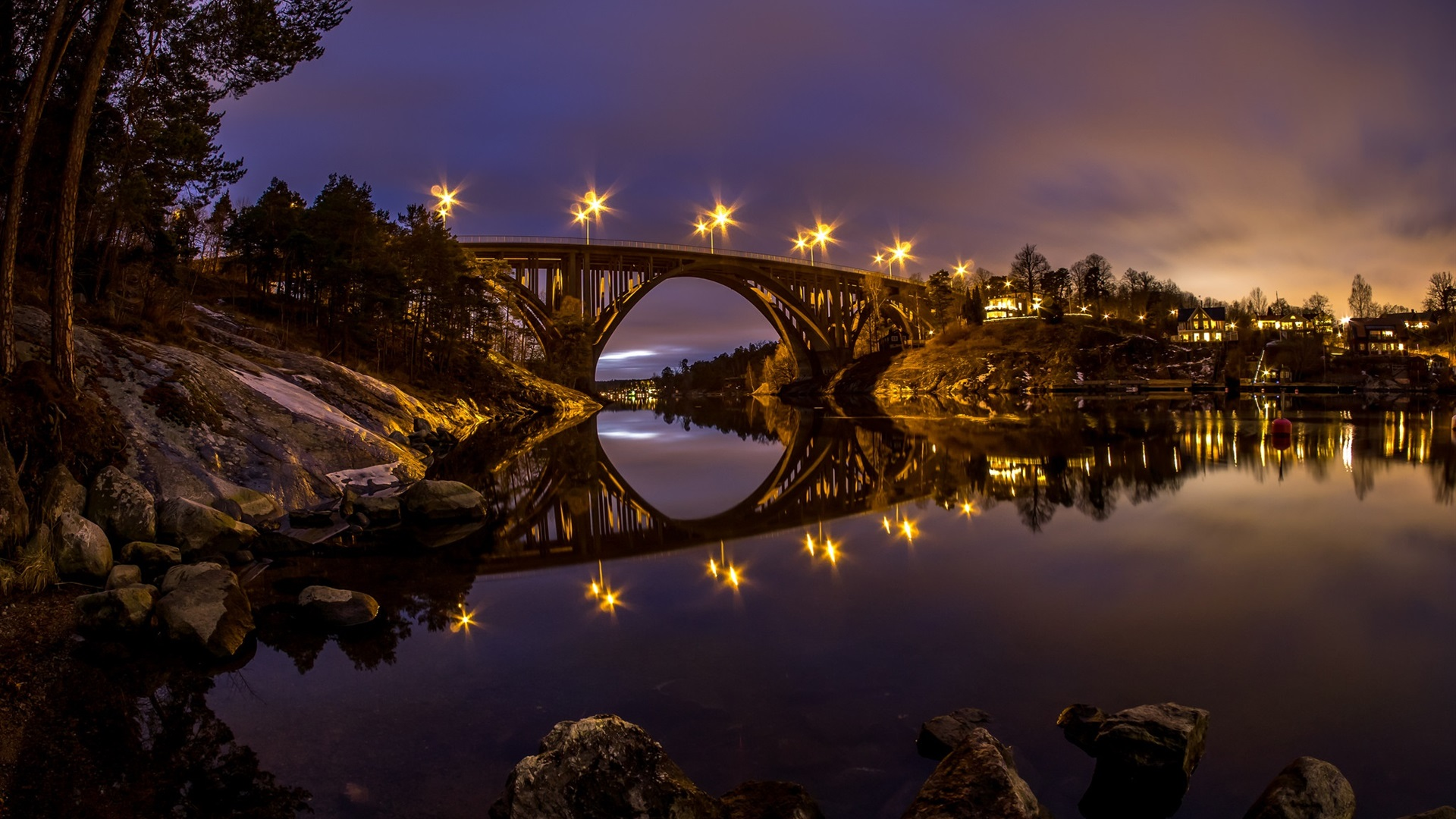 Download Wallpaper 1920x1080 River Sunset Bridge: Download Wallpaper 1920x1080 Sweden, River, Bridge, Water