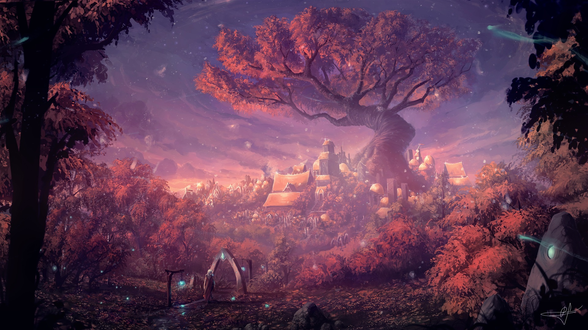 Wallpaper Fantasy Forest City Gate Forest Houses Art