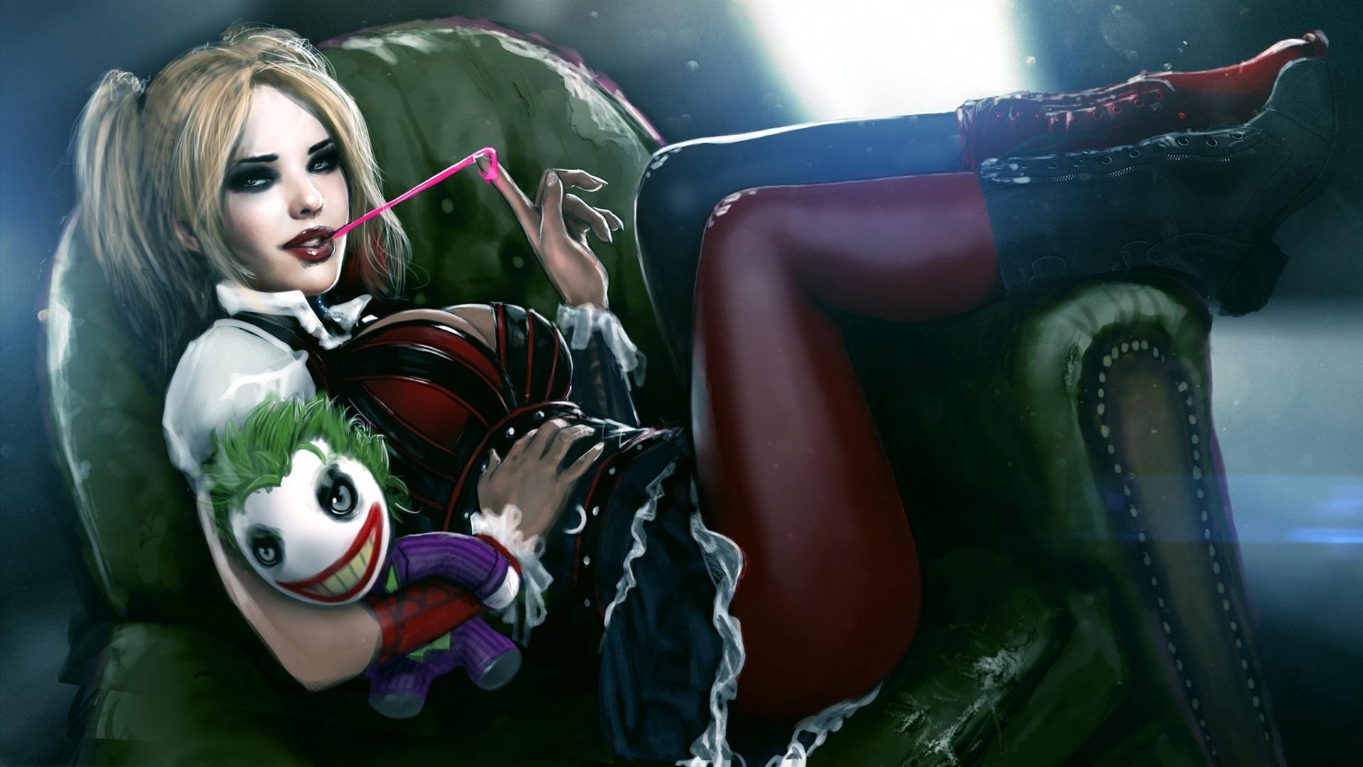 Wallpaper Harley Quinn Joker Gum Toy Art Painting