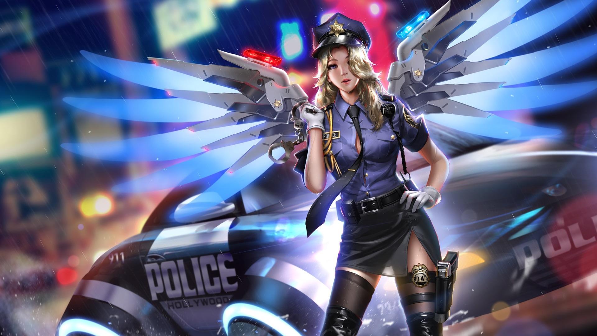 Fonds D Ecran Overwatch Mercy Police Fille Ailes Nuit