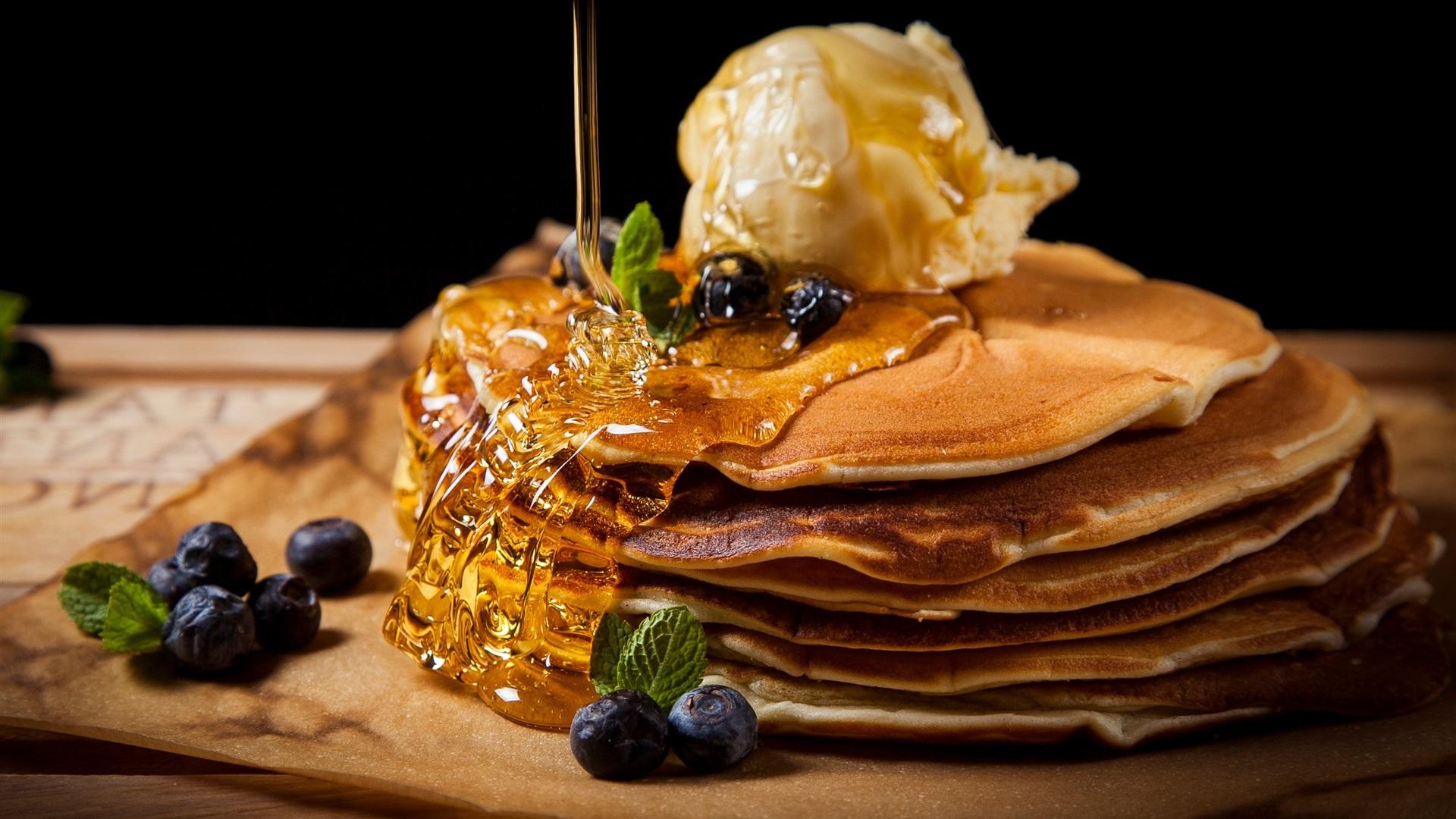 壁紙 パンケーキ 蜂蜜 果実 食べ物 x1800 Hd 無料のデスクトップの背景 画像