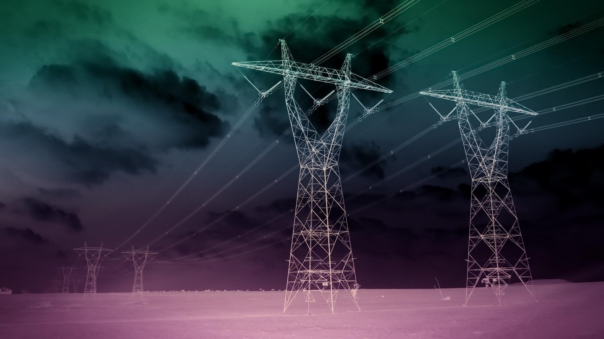wallpaper power lines desert night 1920x1080 full hd
