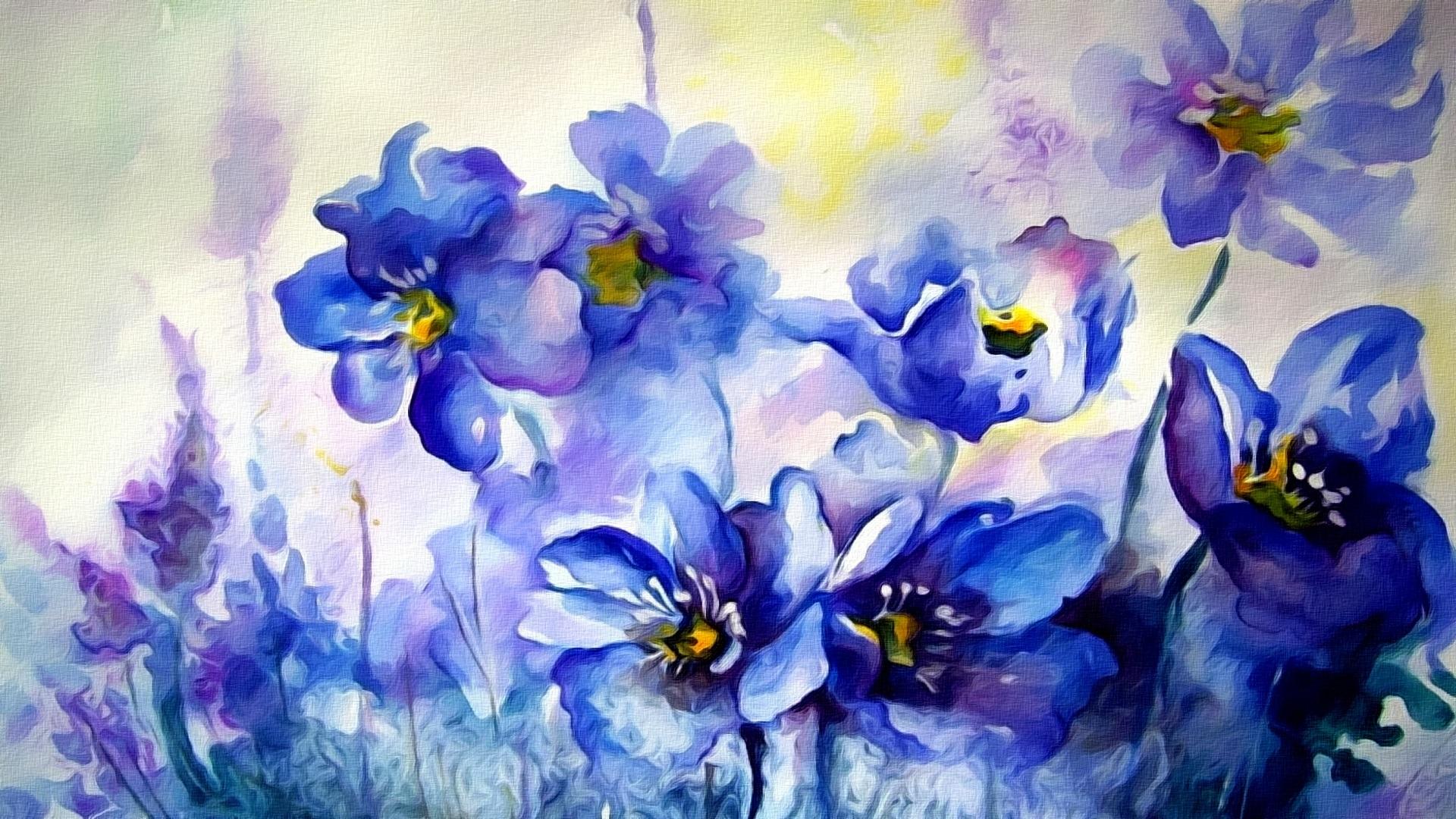 Wallpaper Watercolor Painting Blue Flowers 1920x1080 Full