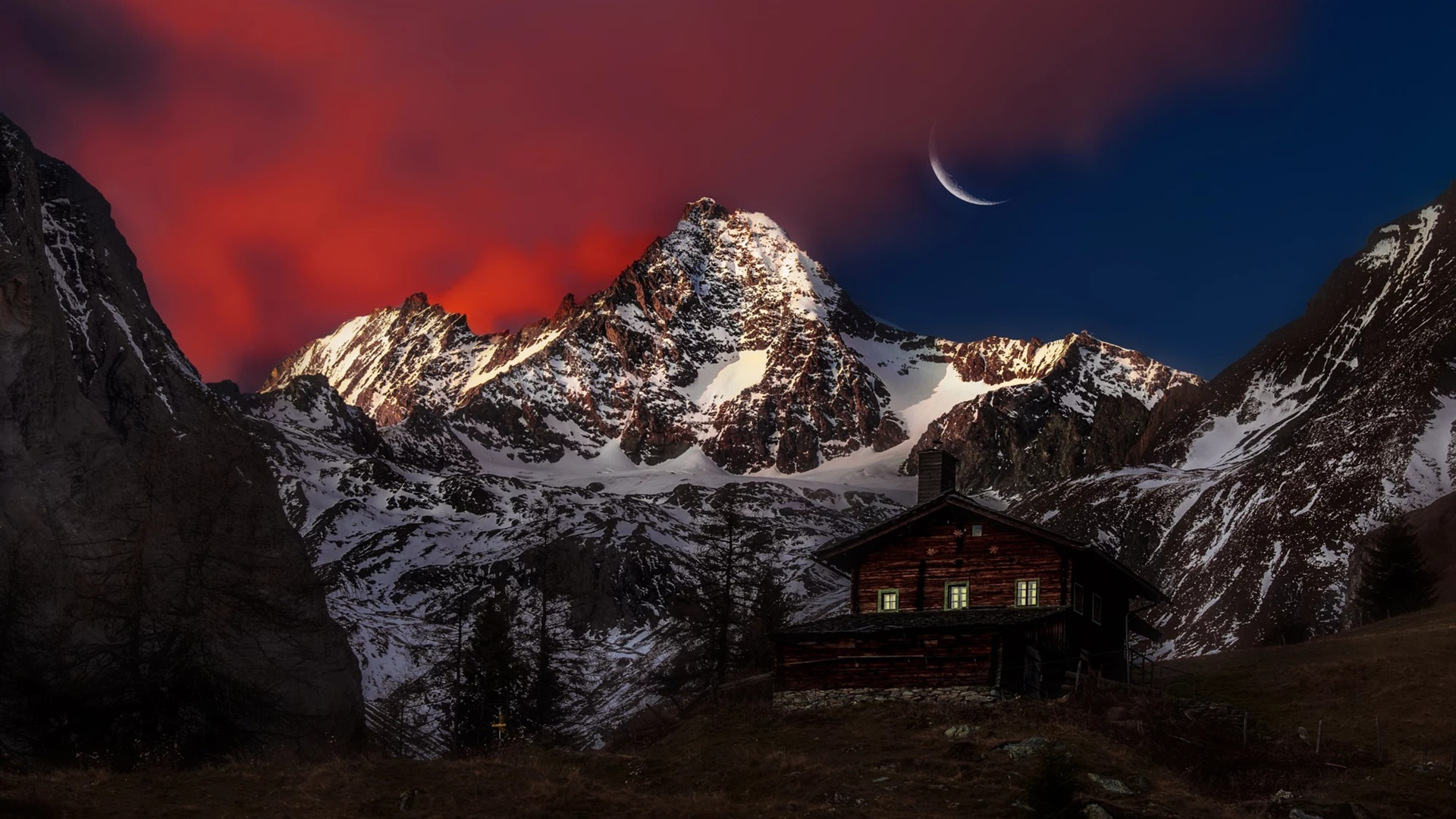 Austria Peak Mountain Snow Wooden House Moon Night