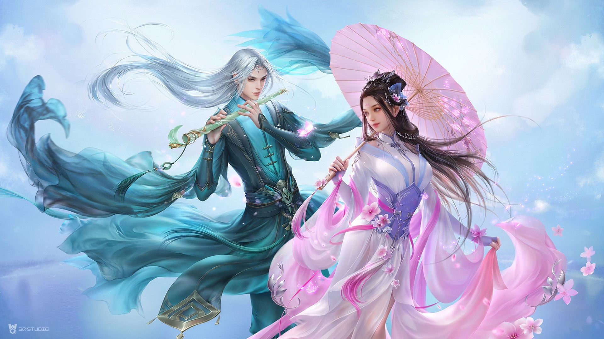 Wallpaper Beautiful Girl And Boy Lovers Chinese Retro Style 1920x1080 Full Hd 2k Picture Image