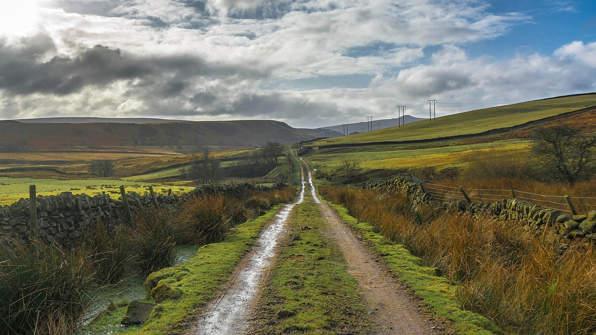 Wallpaper England, Derbyshire, Peak District, road, hills ...