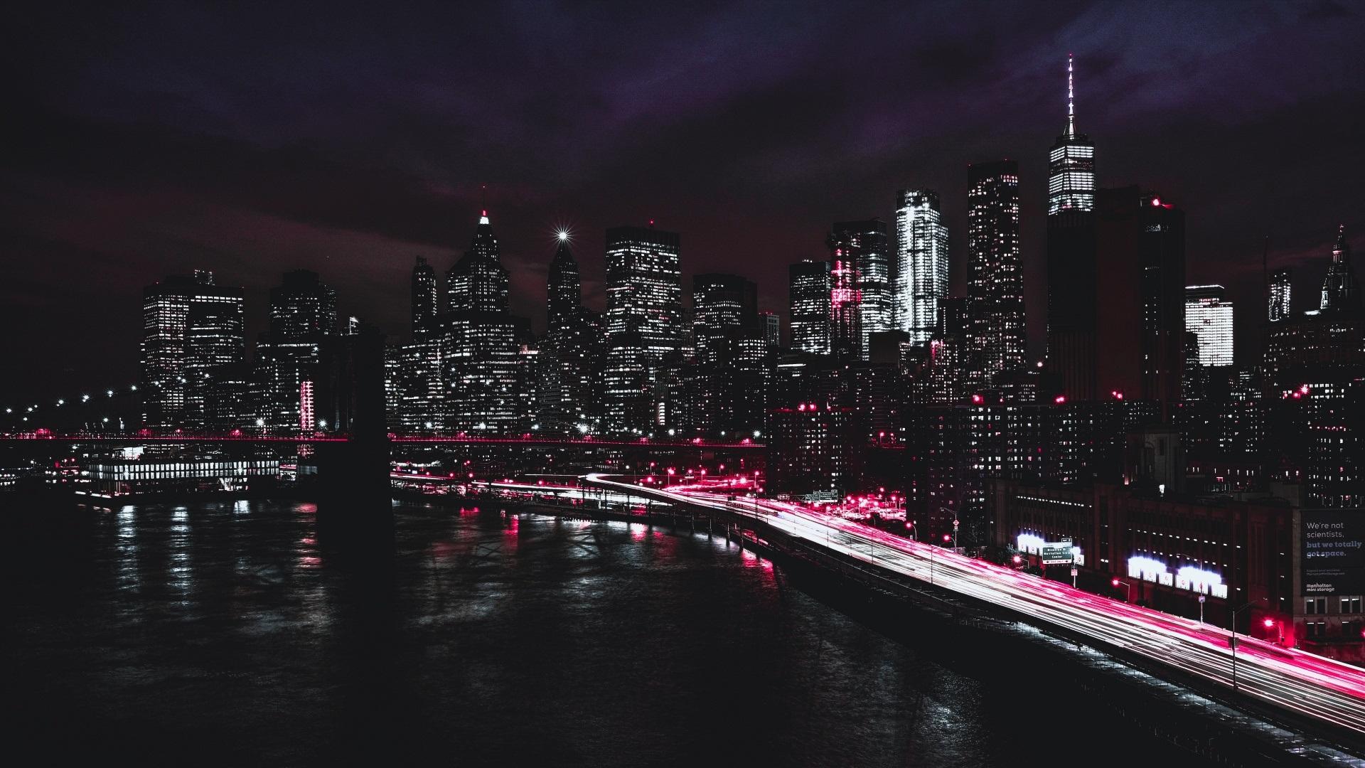 New York Brooklyn Bridge Promenade Straße Wolkenkratzer