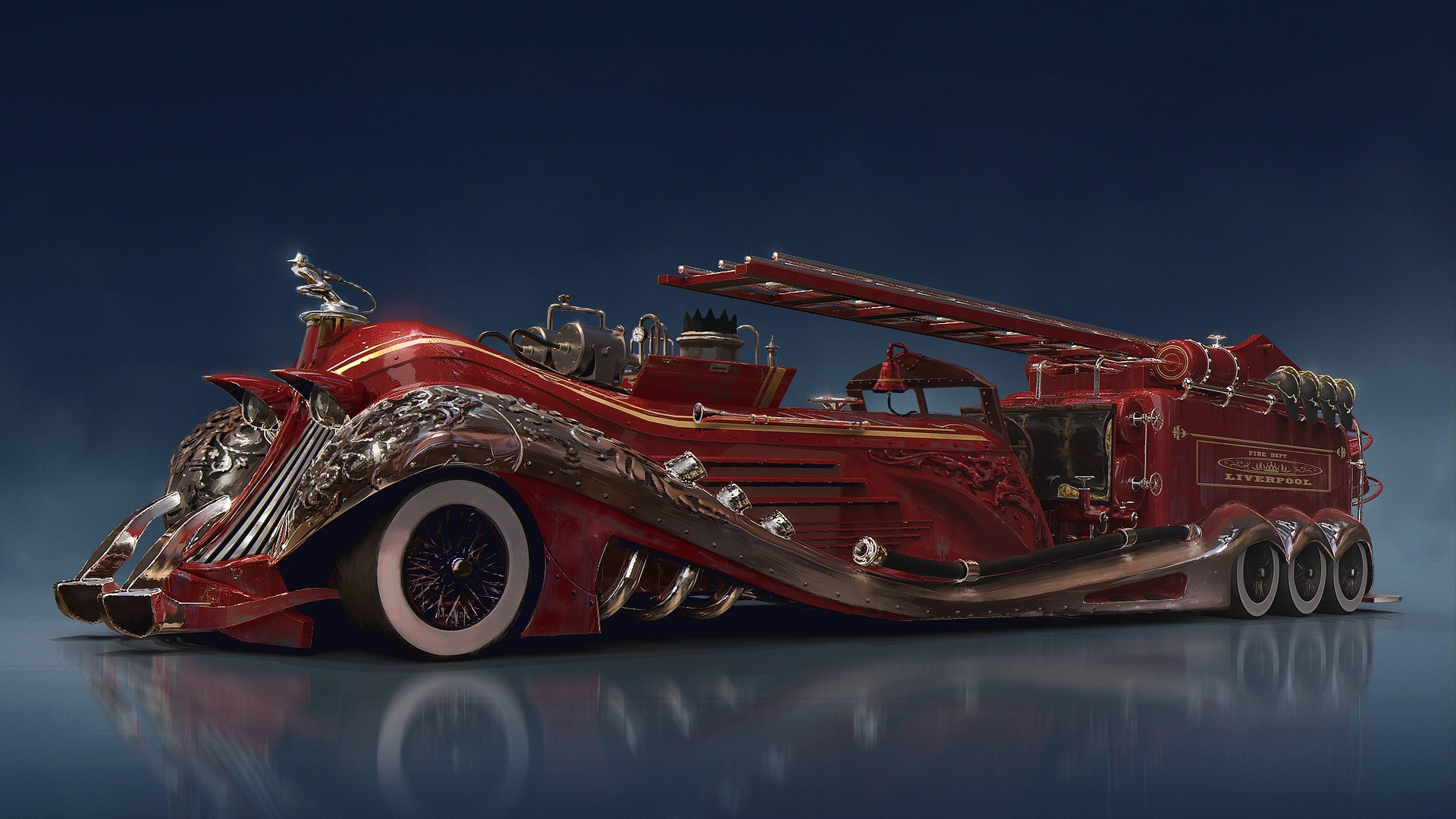 Wallpaper Steampunk Car Concept Red Fire Truck 1920x1080 Full Hd Picture Image