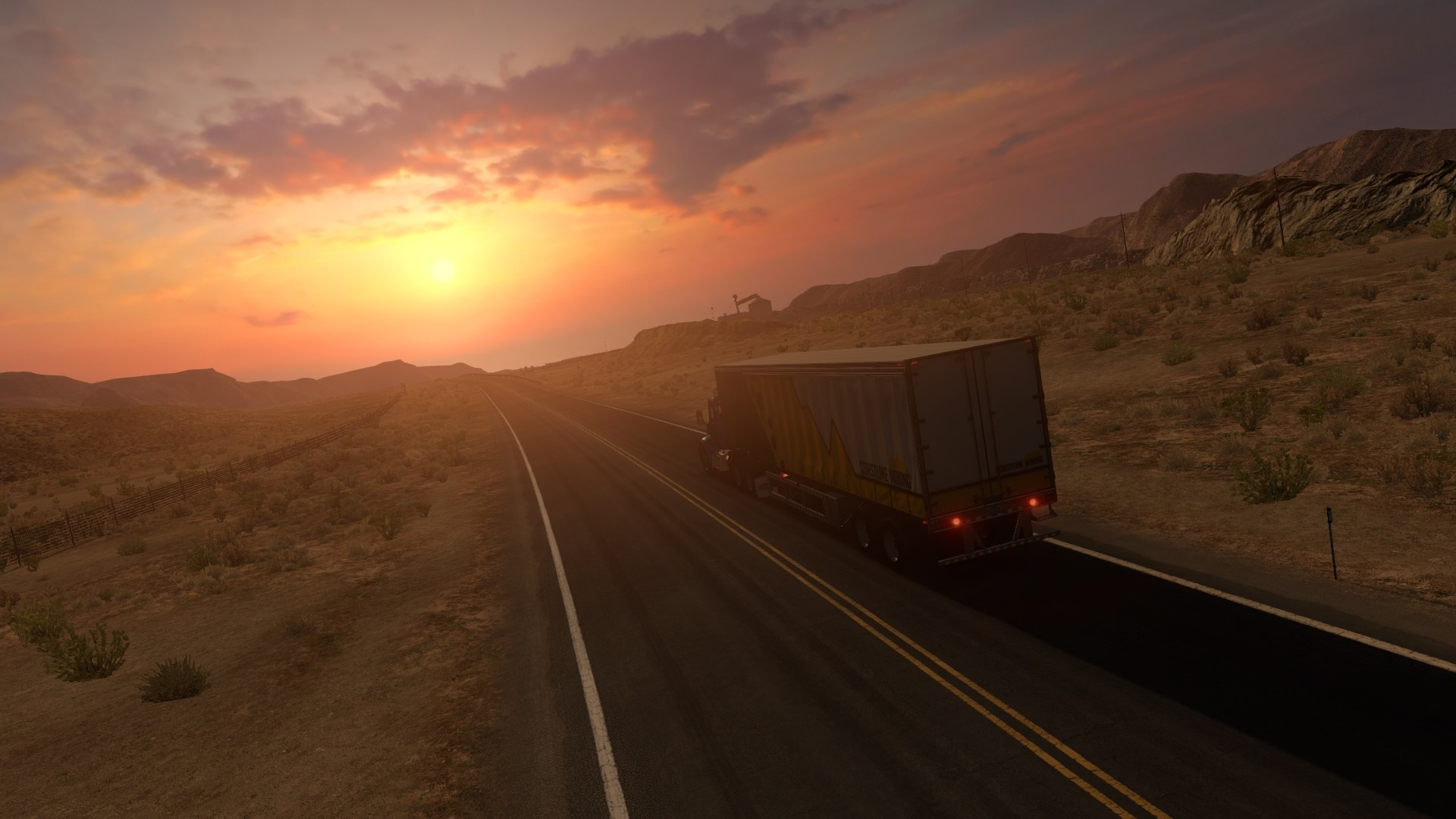 Wallpaper Truck Road Speed Sunset 1920x1080 Full HD 2K Picture Image