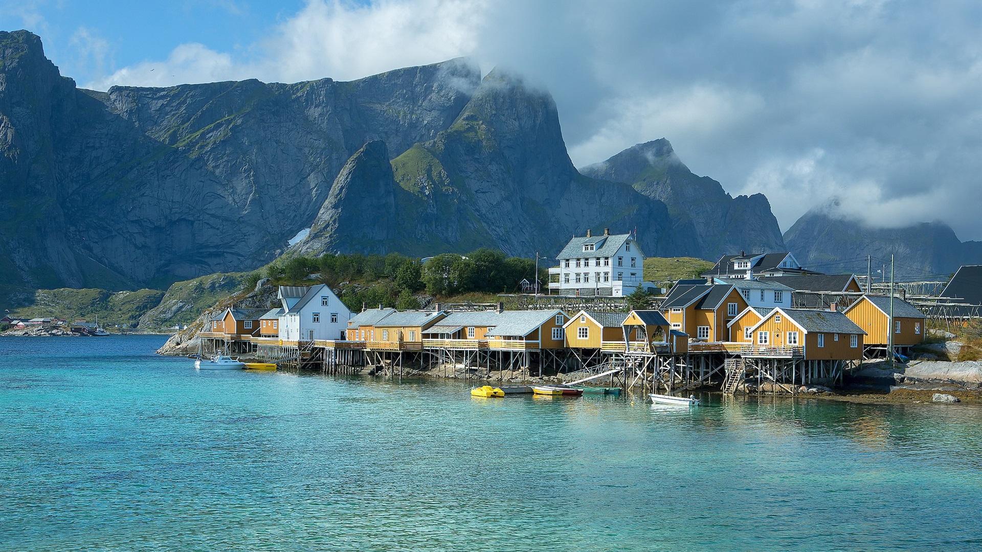 Fonds Décran Norvège Jetée Maisons Mer Montagnes