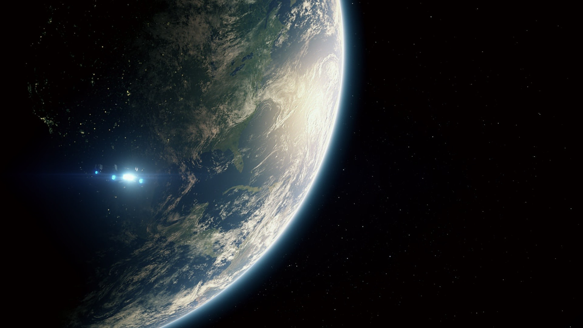Wallpaper Earth Planet Spaceship Universe 1920x1080 Full