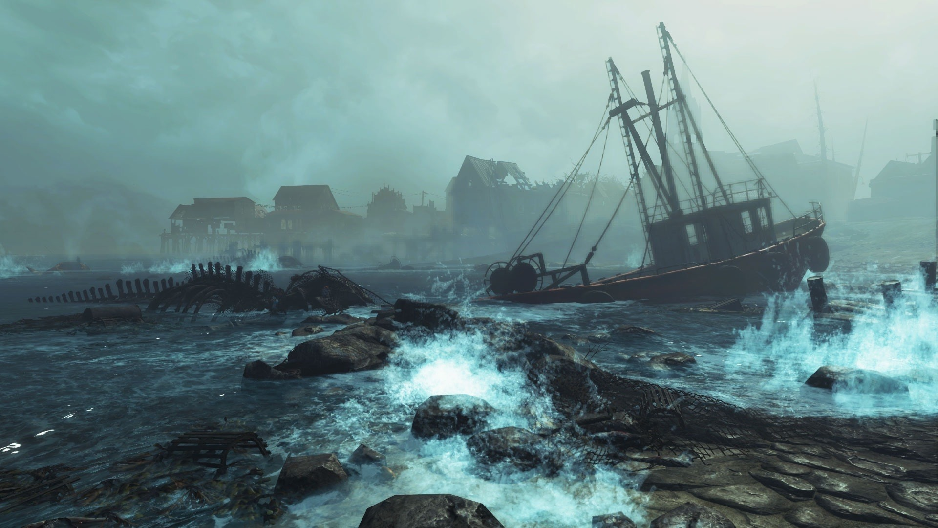 Wallpaper Fallout 4 Far Harbor Boat Sea Storm 1920x1080 Full