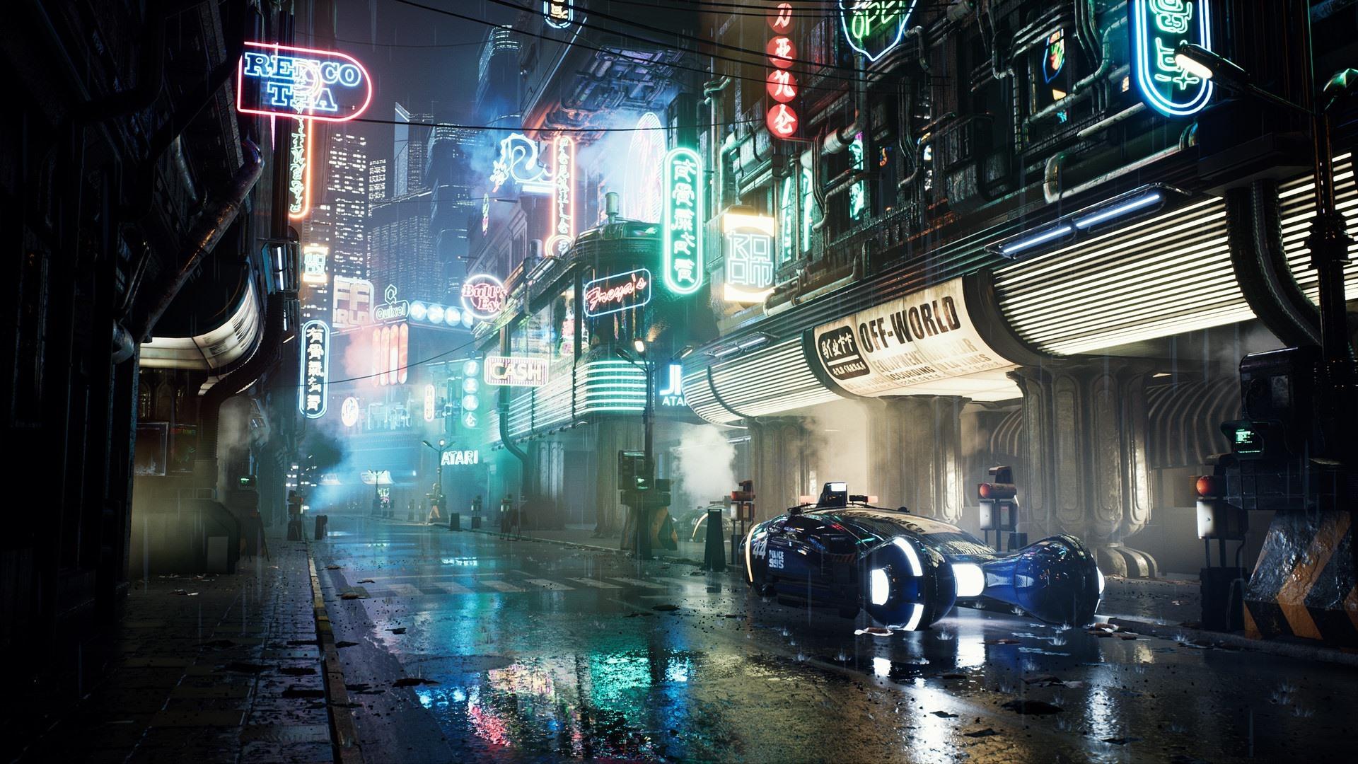 壁紙 未来の都市 夜 道路 車 ライト 1920x1080 Full Hd 2k 無料の