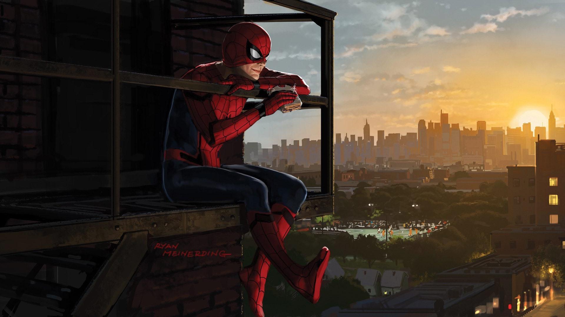 Fondos De Pantalla Spider Man Eat Sandwich Ciudad Imagen