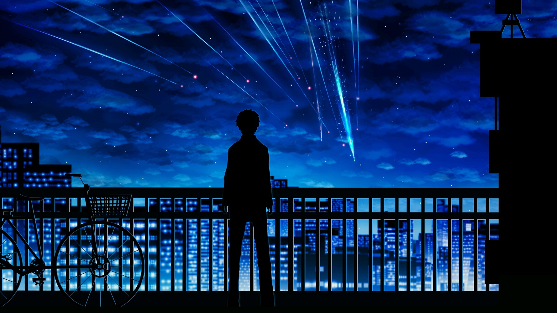 Wallpaper Your Name Meteor Boy Silhouette Fence Bike 2880x1800