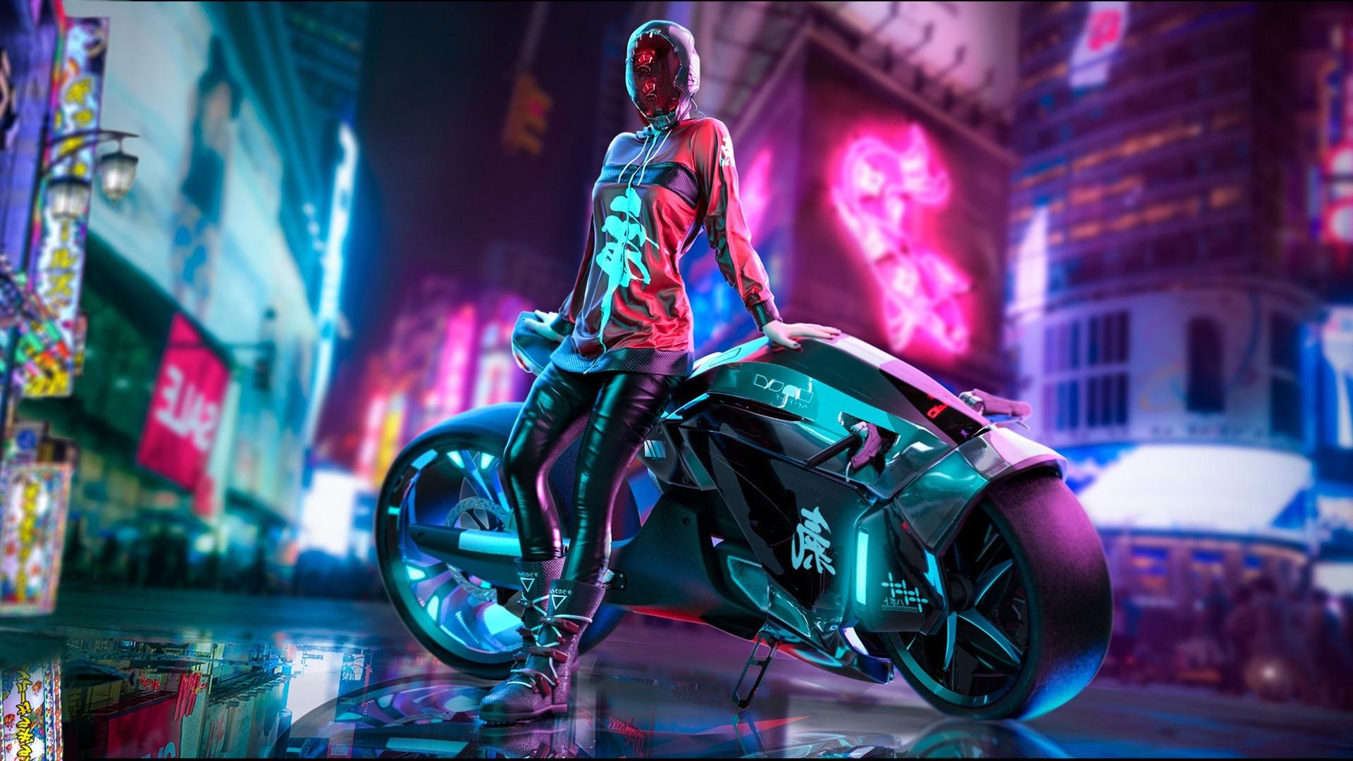 Wallpaper Cyberpunk 2077 City Girl Motorcycle 1920x1080
