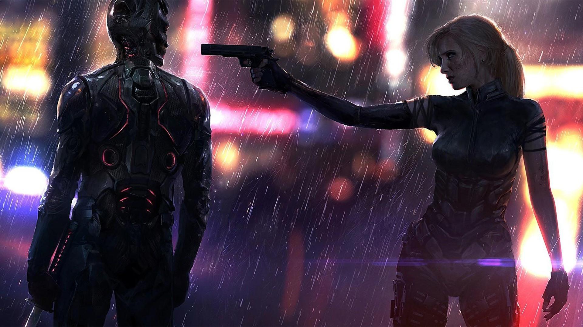Cyberpunk-2077-girl-cyborg-gun-rain_1920